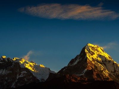 Sun rise view over Mt. Annapurna ranges