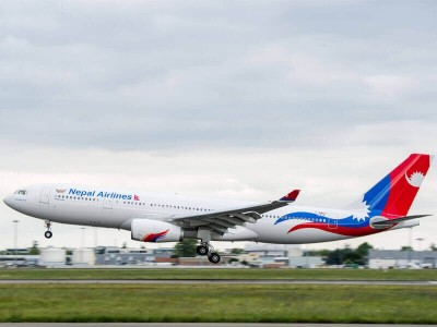 A new aircraft of Nepal Airlines in Kathmandu
